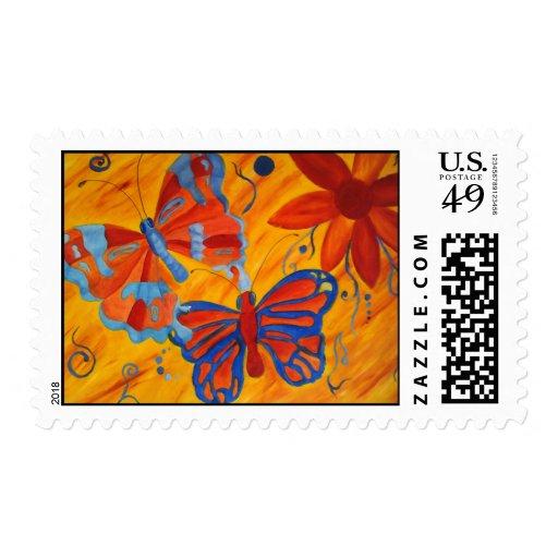 Pintura de la mariposa sellos