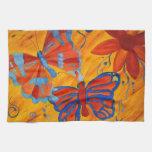 Pintura de la mariposa toalla de cocina