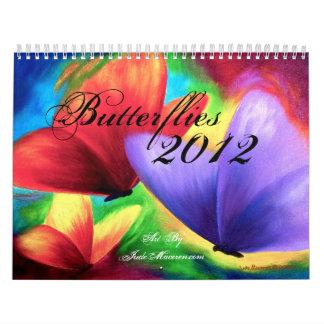 Pintura de la mariposa y de la flor de 2012 calendario