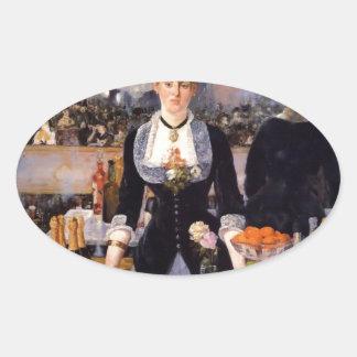 Pintura de la mujer de la barra pegatina ovalada
