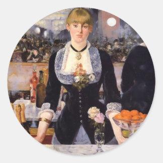 Pintura de la mujer de la barra pegatina redonda