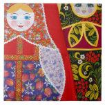 Pintura de la muñeca de Matryoshka del ruso Azulejo Cuadrado Grande