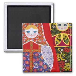 Pintura de la muñeca de Matryoshka del ruso Imán Cuadrado