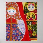 Pintura de la muñeca de Matryoshka del ruso Póster