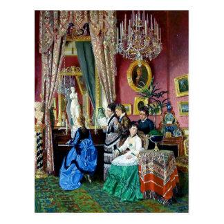 Pintura de la música de los hombres de las mujeres tarjetas postales