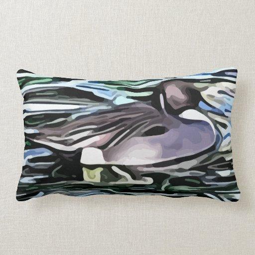 pintura de la natación del pato cojin