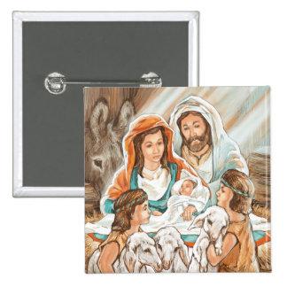 Pintura de la natividad con los pequeños muchachos pin cuadrada 5 cm