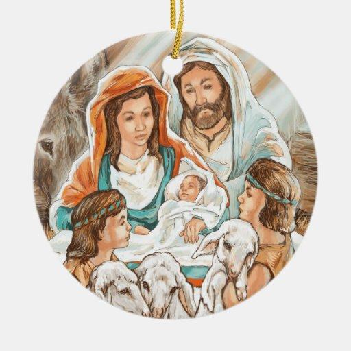 Pintura de la natividad con los pequeños muchachos adorno navideño redondo de cerámica