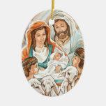 Pintura de la natividad con los pequeños muchachos adorno ovalado de cerámica