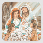 Pintura de la natividad con los pequeños muchachos pegatinas cuadradas personalizadas