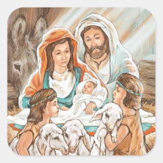 Pintura de la natividad con los pequeños muchachos pegatina cuadrada