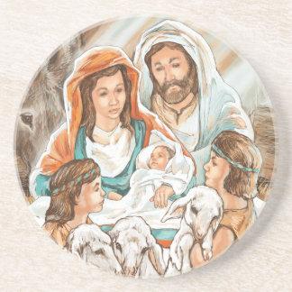 Pintura de la natividad con los pequeños muchachos posavaso para bebida