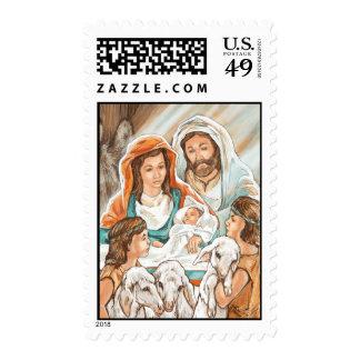 Pintura de la natividad con los pequeños muchachos sello postal
