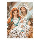 Pintura de la natividad con los pequeños muchachos tarjeta de felicitación