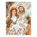 Pintura de la natividad con los pequeños muchachos tarjetas postales