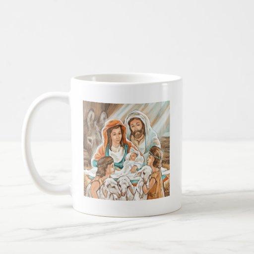 Pintura de la natividad con los pequeños muchachos taza de café