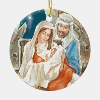 Pintura de la natividad de la estrella del navidad adorno redondo de cerámica