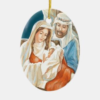 Pintura de la natividad de la estrella del navidad adorno ovalado de cerámica