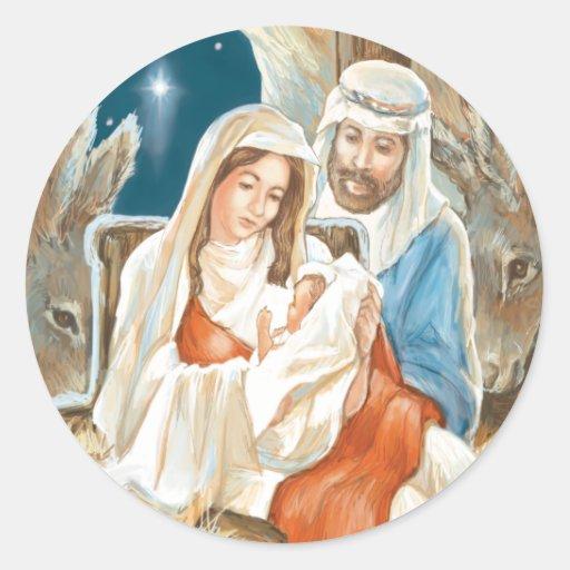 Pintura de la natividad de la estrella del navidad pegatina redonda