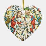 Pintura de la natividad del vitral adorno