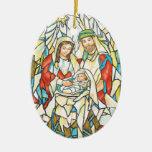 Pintura de la natividad del vitral adorno de reyes