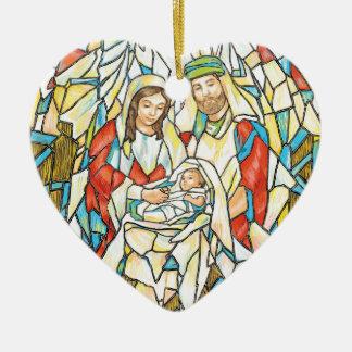 Pintura de la natividad del vitral adorno navideño de cerámica en forma de corazón