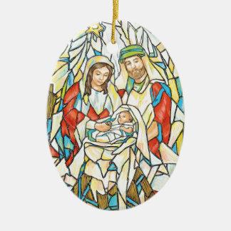 Pintura de la natividad del vitral adorno navideño ovalado de cerámica