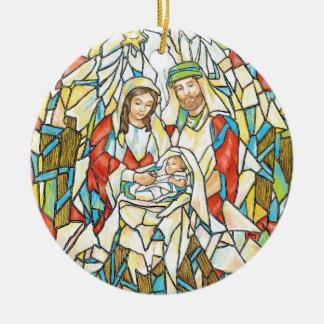 Pintura de la natividad del vitral adorno navideño redondo de cerámica