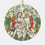 Pintura de la natividad del vitral ornamento de navidad
