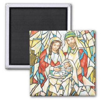 Pintura de la natividad del vitral imán cuadrado