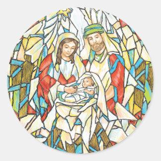 Pintura de la natividad del vitral pegatina redonda