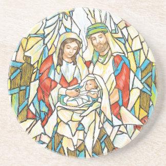 Pintura de la natividad del vitral posavasos manualidades