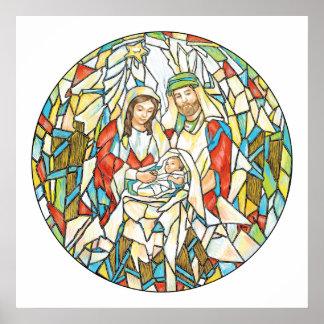 Pintura de la natividad del vitral póster