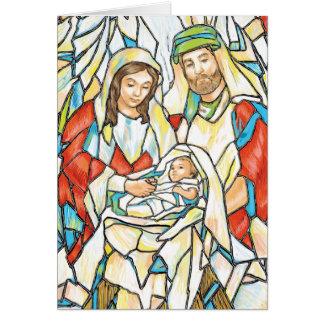 Pintura de la natividad del vitral tarjeta de felicitación