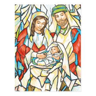 Pintura de la natividad del vitral tarjeta postal