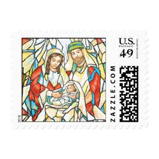 Pintura de la natividad del vitral timbre postal
