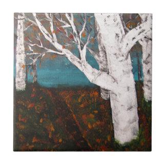Pintura de la naturaleza del otoño de los árboles azulejo cuadrado pequeño