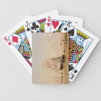 Pintura de la nave (aceite en lona) 2 cartas de juego