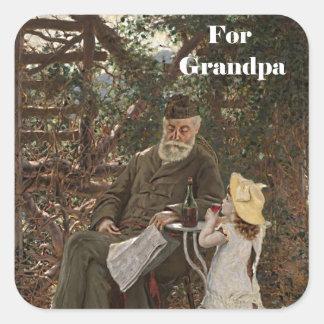 Pintura de la nieta del abuelo del día del abuelo pegatina cuadradas