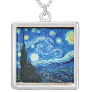 Pintura de la noche estrellada del pintor Vincent  Colgante Cuadrado