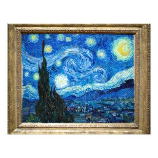 Pintura de la noche estrellada del pintor Vincent  Tarjetas Informativas
