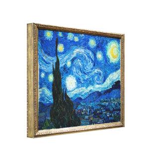 Pintura de la noche estrellada del pintor Vincent  Lona Estirada Galerias