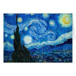 Pintura de la noche estrellada del pintor Vincent  Felicitación
