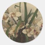 Pintura de la orquídea etiqueta redonda