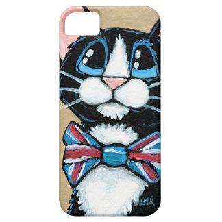 Pintura de la pajarita del gato BRITÁNICO iPhone 5 Funda