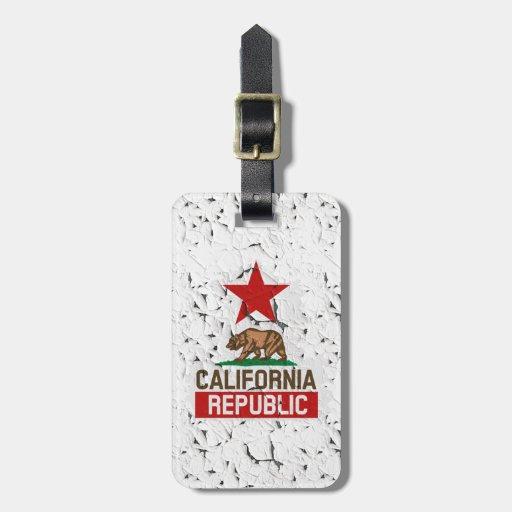 Pintura de la peladura de la república de Californ Etiquetas De Maletas