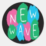 Pintura de la pintada de la nueva ola etiqueta redonda