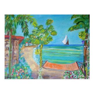 Pintura de la playa de El Salvador - postal