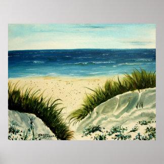 pintura de la playa de las dunas de arena de aceit poster