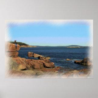 Pintura de la playa del parque nacional del Acadia Póster